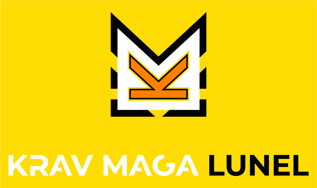 Logo fond jaune krav maga lunel
